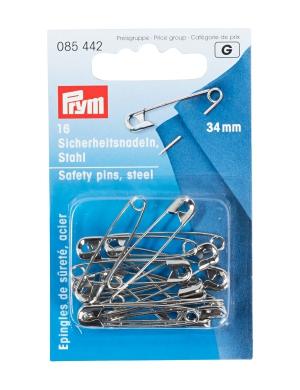16 Sicherheitsnadeln Stahl 27 mm von Prym 085 441